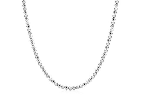 18k White Gold Bead Necklace - 5mm, 8g
