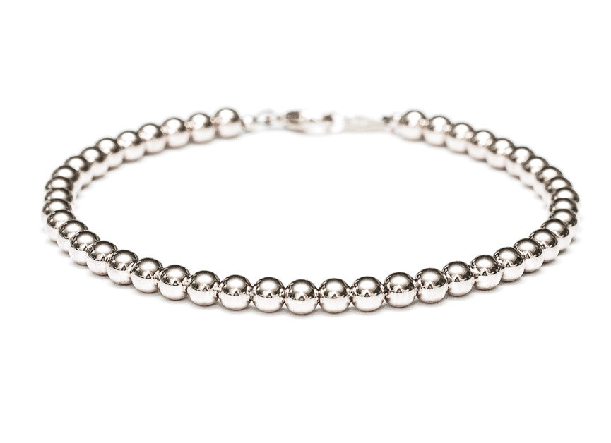 14k White Gold Bead Bracelet - Women and Mens Bracelet - 4mm