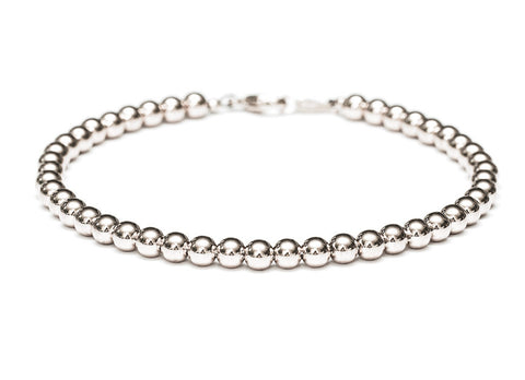 Heavy 14k White Gold Bead Bracelet - Women's and Men's Bracelet - 4mm, 5.8g