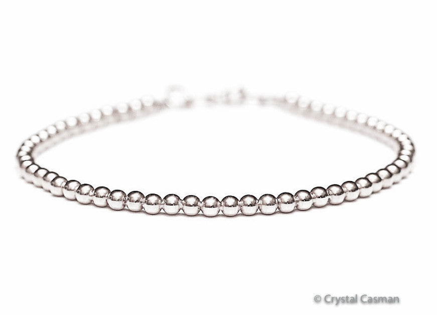 18k White Gold Bead Bracelet - 3mm - Women's or Men's Bracelet