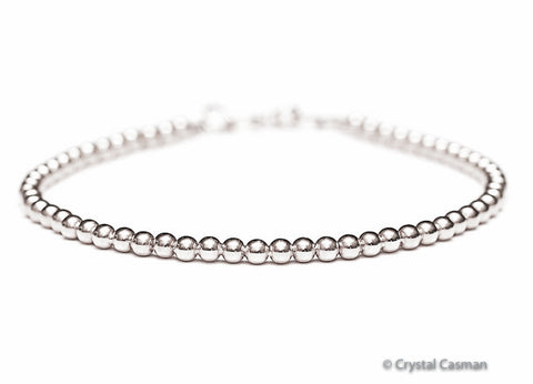 14k White Gold Bead Bracelet - 3mm - Womens or Mens Bracelet