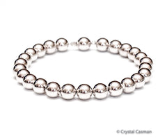 Classic 14k white gold ball large bead bracelet.  Perfect for a man or a woman.