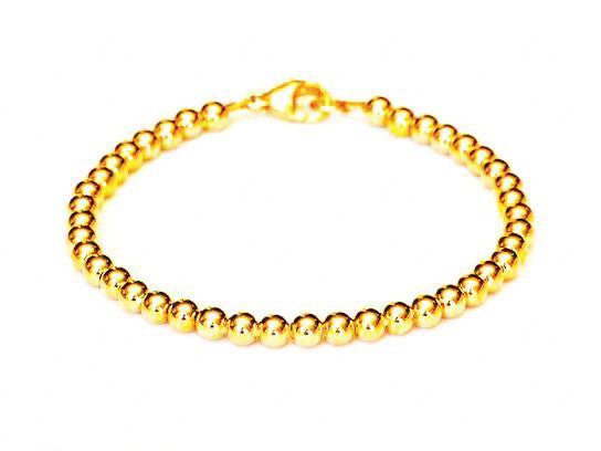 14k Gold Bead Bracelet - Women and Men's Bracelet - 6mm