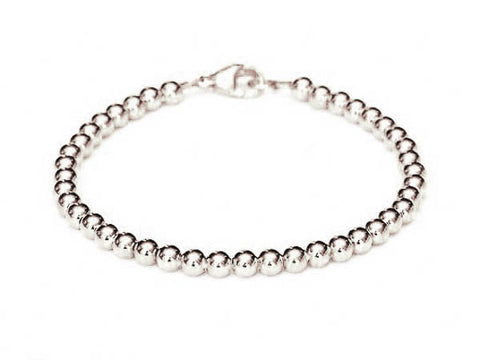 14k White Gold Bead Bracelet - 6mm - Women's and Men's Bracelet, 4.5g
