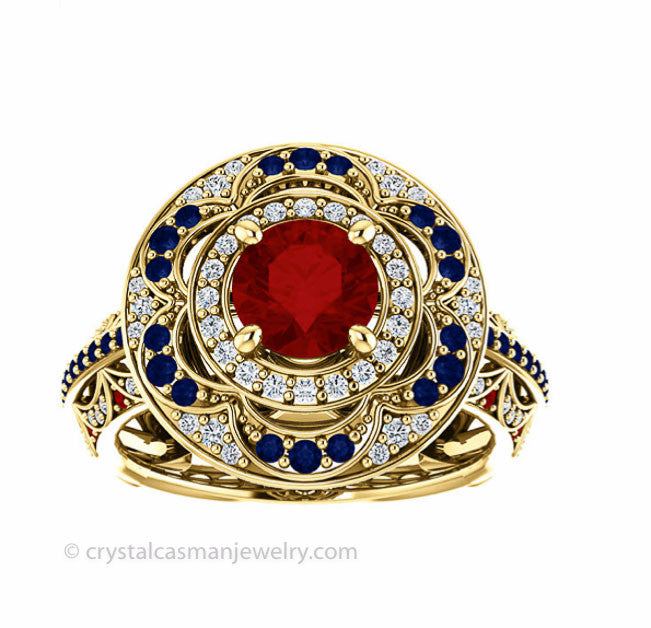 18k gold ruby sapphire and diamond ring