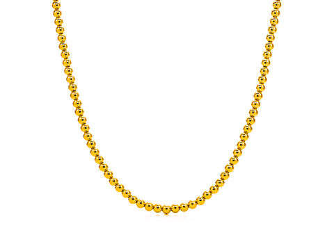 18k Gold Bead Necklace - 5mm