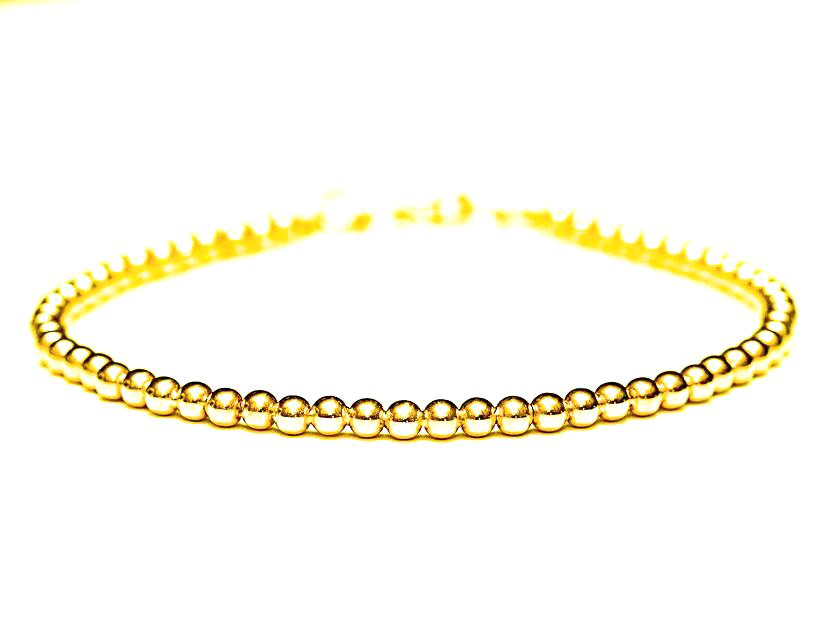 18k Gold Bead Bracelet - Womens and Mens Bracelet - 3mm