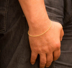 14k Gold Bead Bracelet - Women and Mens Bracelet - 2mm, Model View