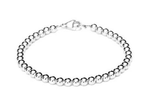 18k White Gold Bead Bracelet - Women's and Men's Bracelet - 5mm, 4g