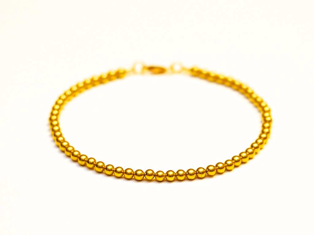 22k Gold Ball Bead Bracelet - Women or Mens Bracelet - 3mm, 5.5gr