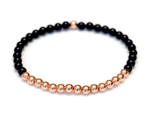 Black Onyx and 14k Rose Gold Ball Bead Stretch Bracelet - 4mm. Men and Women's Bracelet