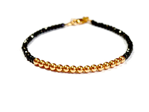 Black Spinel and 14k Rose Gold Bead Bracelet - 4mm - Womens and Mens Bracelet