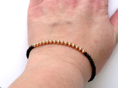 Black Spinel and 14k Rose Gold Bead Bracelet - 4mm - Women and Men's Bracelet - Model View