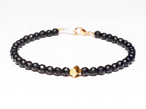 Matte Black Onyx 14k Gold Bead Bracelet - Women's and Men's Bracelet