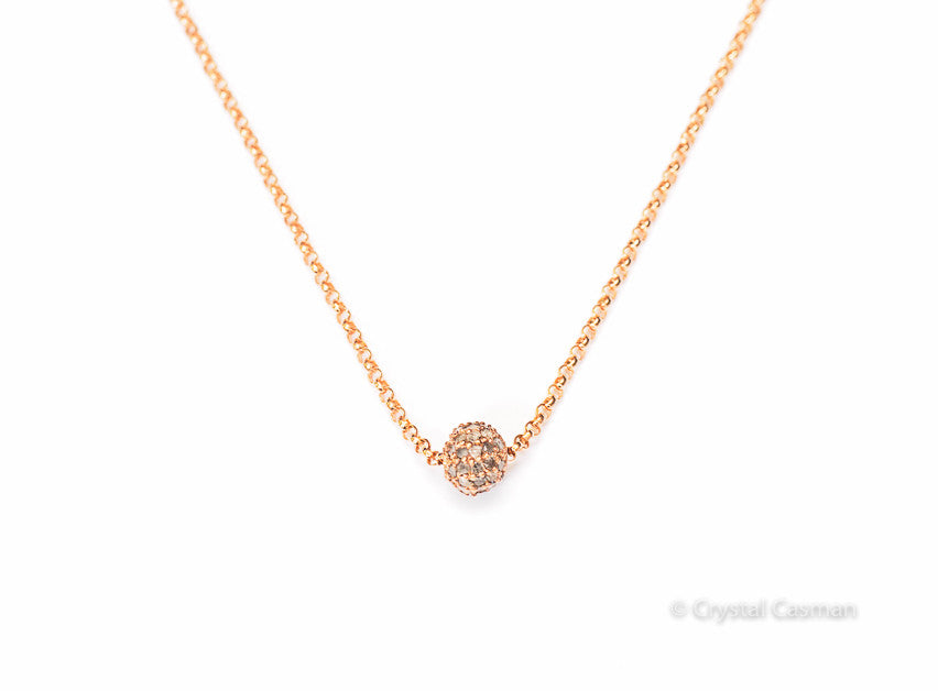 14k Rose Gold Diamond Pave Bead Necklace