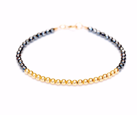 14k Gold Bead Bracelet w/ Hematite - 3mm - Women and Men's Bracelet