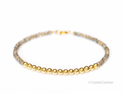 14k Gold Bead Bracelet with Labradorite - Womens and Mens Bracelet