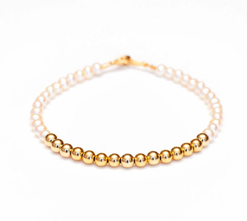 White Pearl Bracelet with 14k Gold Beads - 4mm