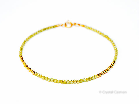 Peridot 14k Gold Bead Bracelet - Womens and Mens Bracelet - 2mm