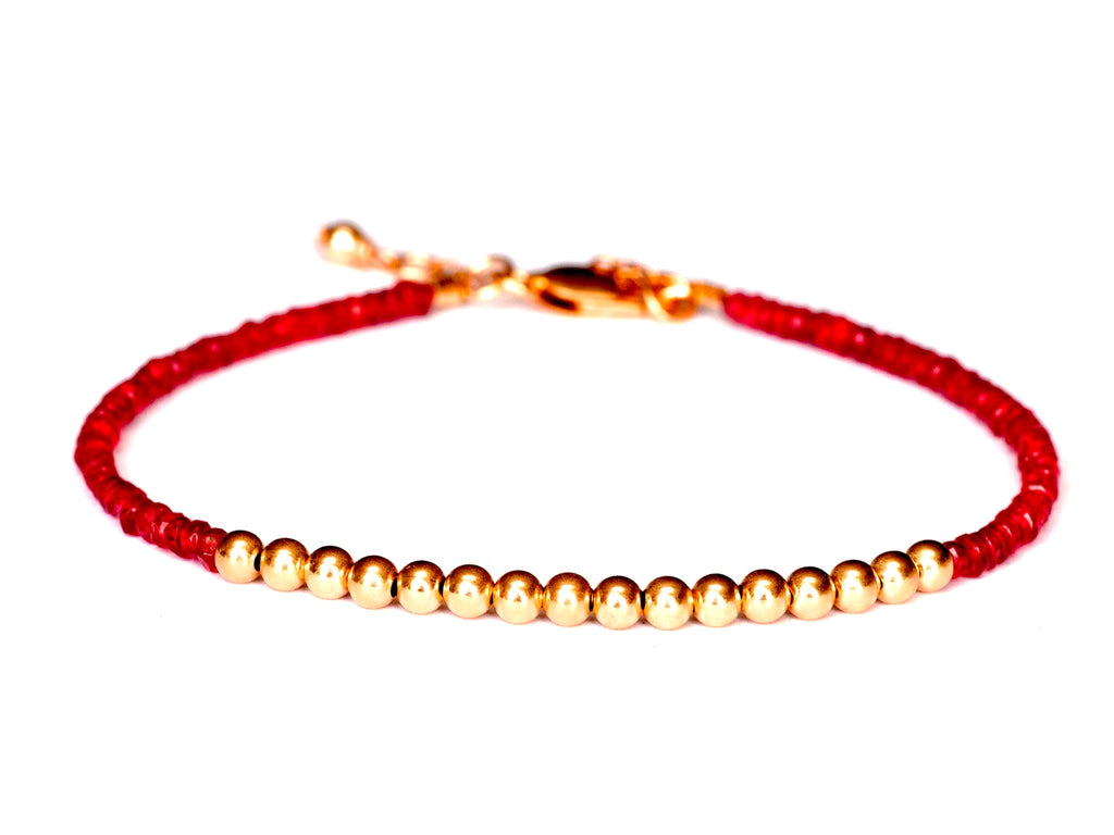 Red Spinel 14k Rose Gold Bead Bracelet