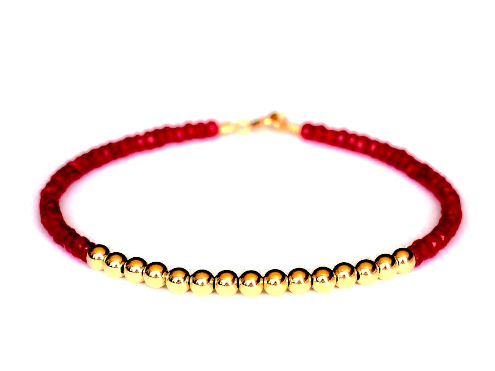 Ruby 14k Gold Bead Bracelet