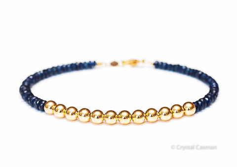 Sapphire 14k Gold Bead Bracelet - Women's and Men's Bracelet