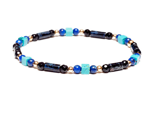 Turquoise, Lapis, and Black Onyx 14k Gold Bead Stretch Bracelet - Women and Men's Bracelet
