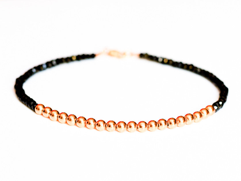 Black Spinel 14k Rose Gold Bead Bracelet - 3mm - Women and Men's Bracelet
