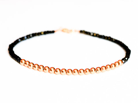 Black Spinel 14k Rose Gold Bead Bracelet - 3mm - Women's and Men's Bracelet