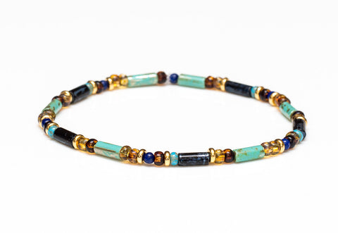 Multicolor Turquoise Stretch Bracelet in 14k Gold - Women and Men's Bracelet
