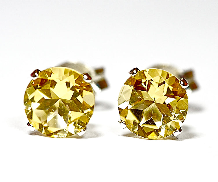 Citrine Stud Earrings in 14k Gold - for Men and Women - 4mm, 5mm, and 6mm