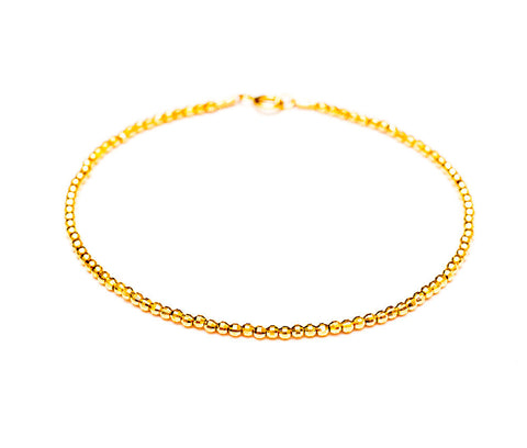 14k Gold Diamond Cut Mirror Faceted Bead Bracelet - 2mm
