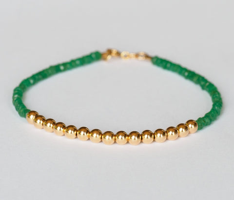 Emerald Bracelet with 14k Gold Beads