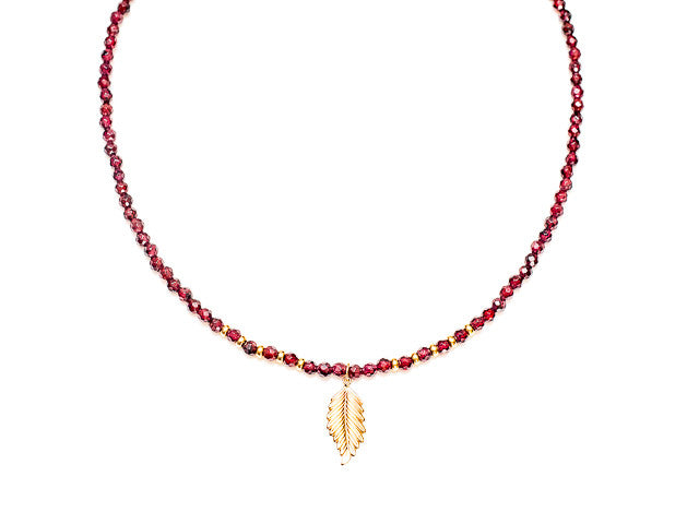 Garnet Choker Necklace with Leaf Pendant in 14k Gold