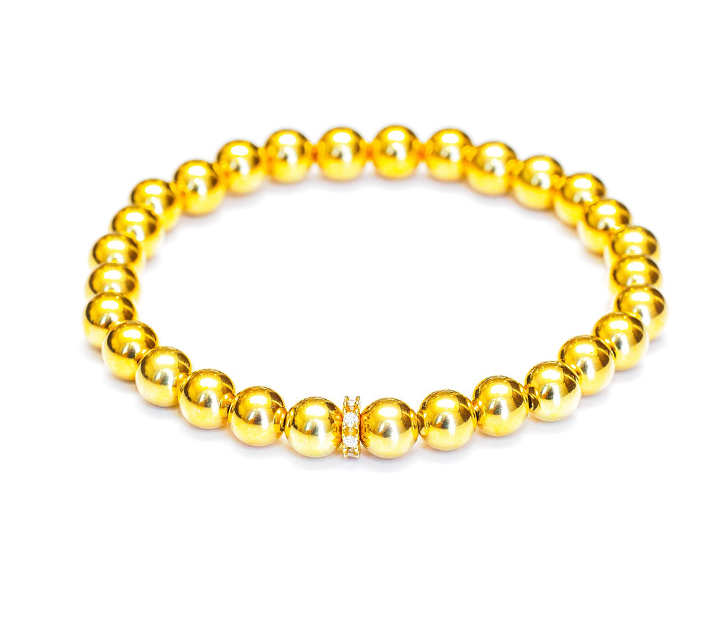 Diamond and 14k Gold Bead Stretch Bracelet - 6mm