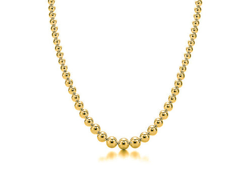 18k Gold Bead Graduated Necklace