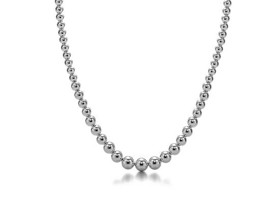 Graduated 18k White Gold Bead Necklace