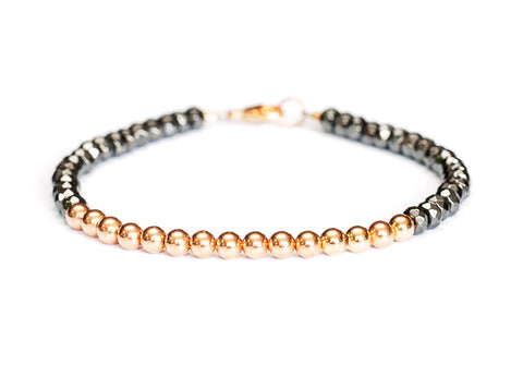 Hematite 14k Rose Gold Bead Bracelet - Womens and Mens Bracelet