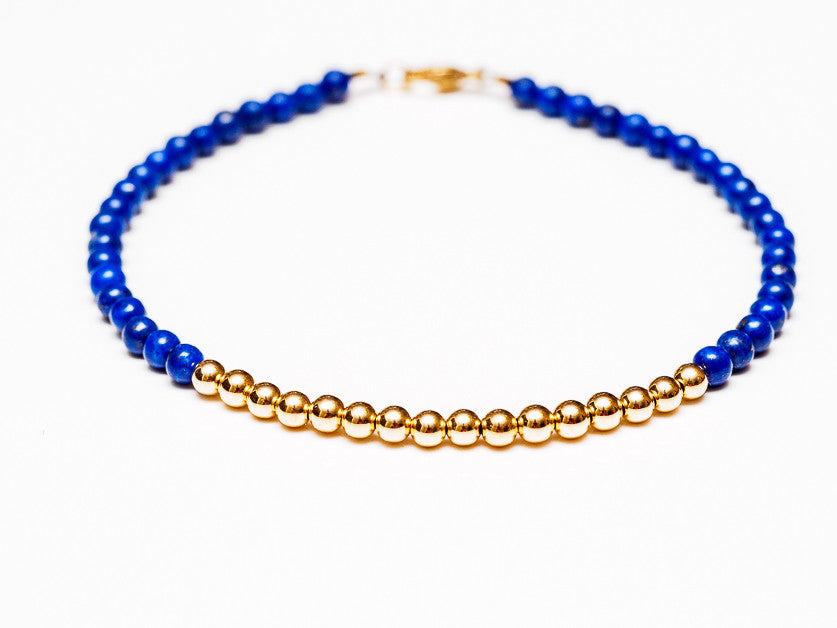 Lapis Lazuli 14k Gold Bead Bracelet - Women's and Men's Bracelet