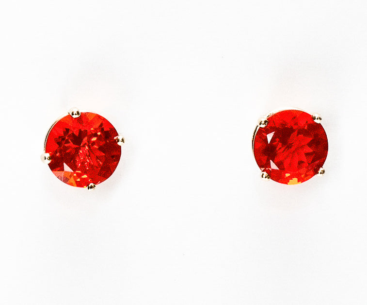 Mexican Fire Opal 14k Gold Stud Earrings - 4mm, 5mm, 6mm.  Model View.