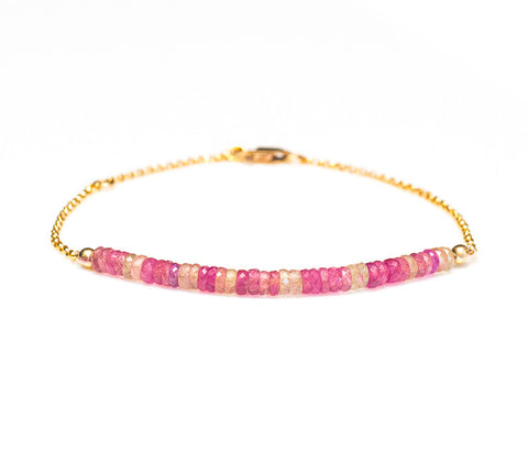 Multicolor Pink Sapphire Bracelet with 14k Gold Chain