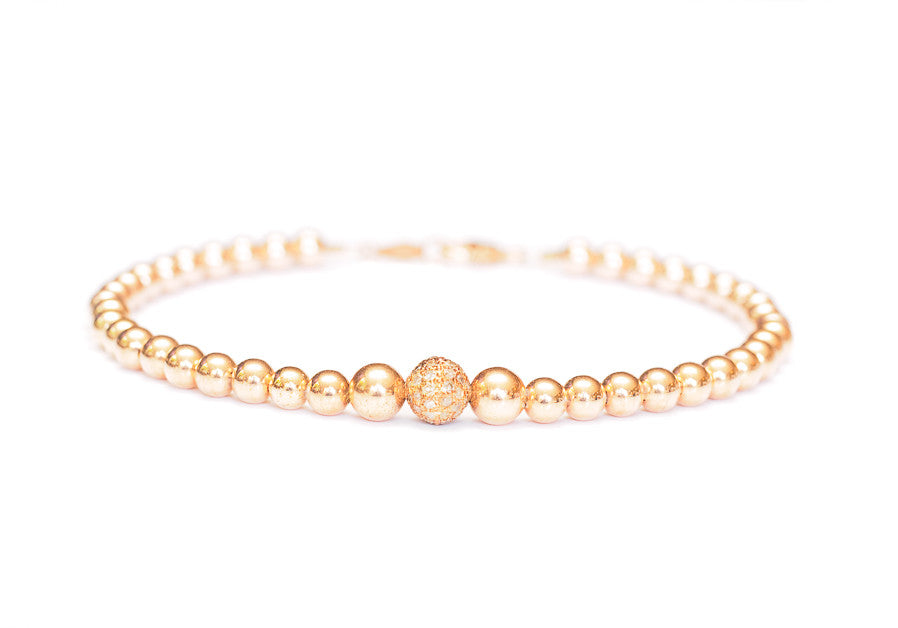 Diamond 14k Rose Gold Bead Chain Bracelet
