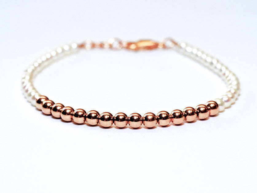 Pearl and 14k Rose Gold Bead Bracelet - 4mm