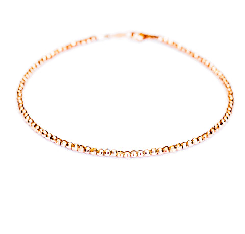14k rose gold bead diamond cut bracelet, 2mm wide