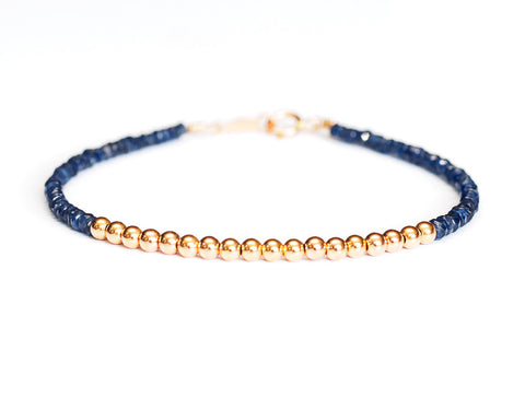 Sapphire 14k Rose Gold Bead Bracelet - Womens and Mens Bracelet