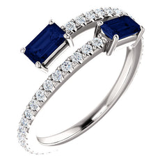 Platinum Sapphire and Diamond Two Stone Bypass Ring