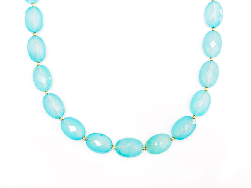 Aqua Chalcedony Necklace in 18k Gold