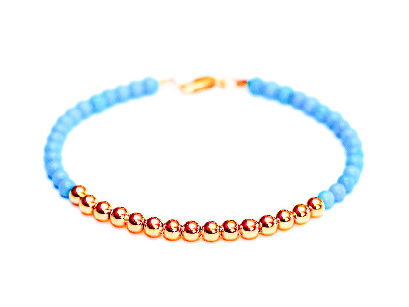 Turquoise Bead Bracelet in 14k Rose Gold - Women's and Men's Bracelet
