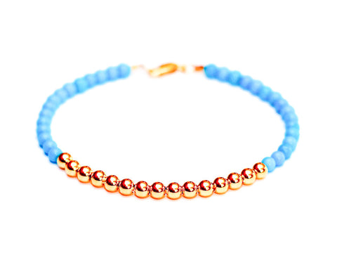Rare Sleeping Beauty Turquoise 14k Rose Gold Bead Bracelet - Womens and Mens Bracelet