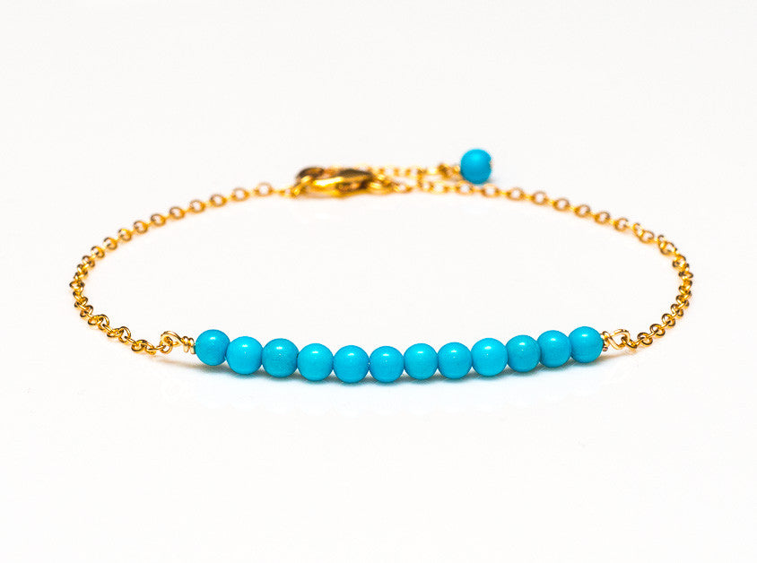 Rare Sleeping Beauty Turquoise Bracelet in 14k Gold